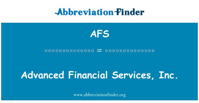 AFS: Advanced Financial Services, Inc.