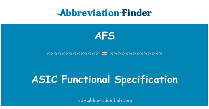 AFS: ASIC Functional Specification