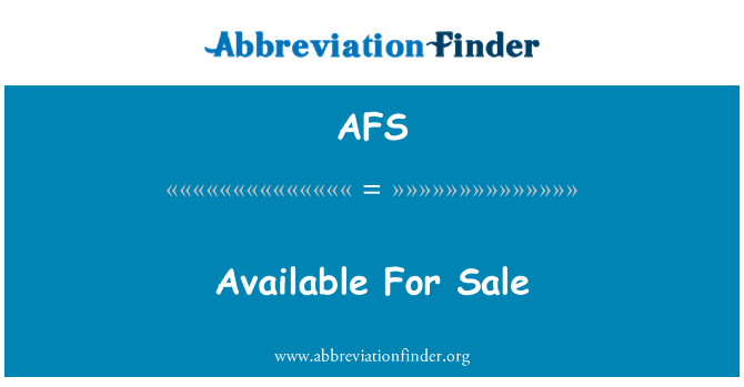 AFS: Available For Sale