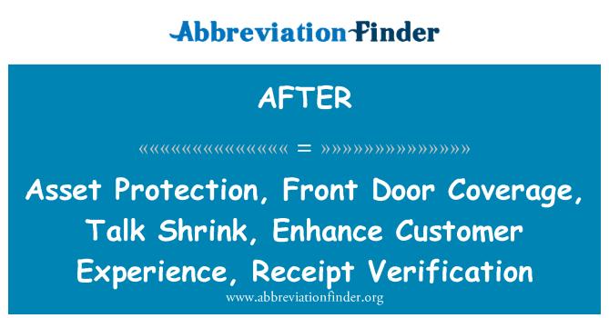 AFTER: Protección de activos, cobertura de puerta, charla Shrink, mejorar la experiencia del cliente, verificación de recibo