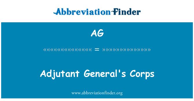 AG: Adjutant General's Corps