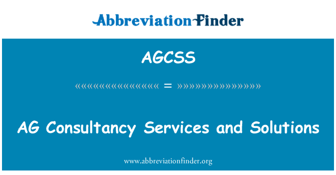 AGCSS: AG Consultancy Services and Solutions