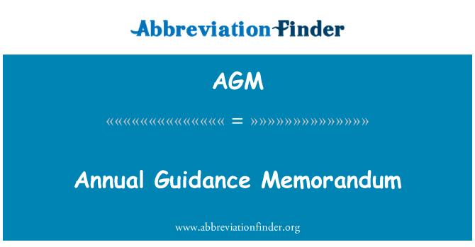 AGM: Annual Guidance Memorandum