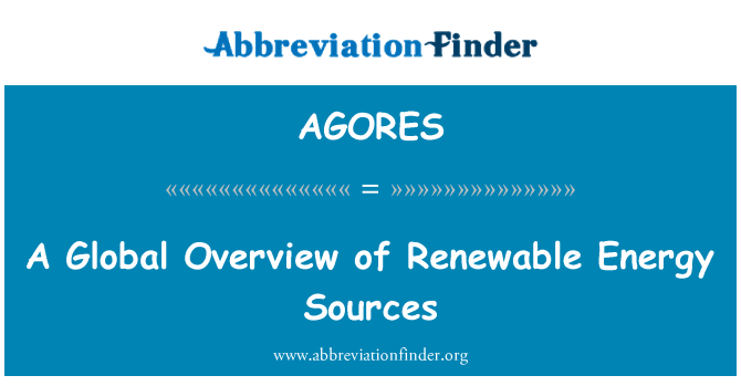 AGORES: A Global Overview of Renewable Energy Sources