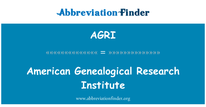 AGRI: American Genealogical Research Institute