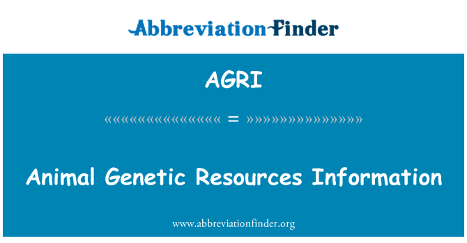 AGRI: Animal Genetic Resources Information