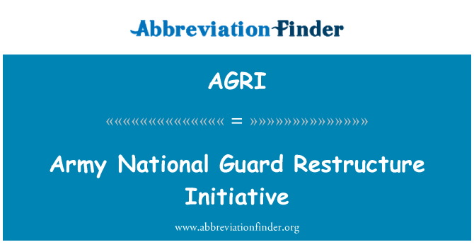AGRI: Army National Guard Restructure Initiative