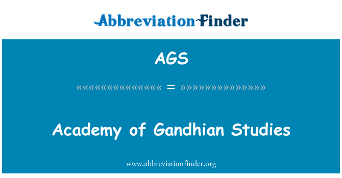 AGS: Academy of Gandhian Studies