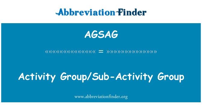 AGSAG: Activity Group/Sub-Activity Group