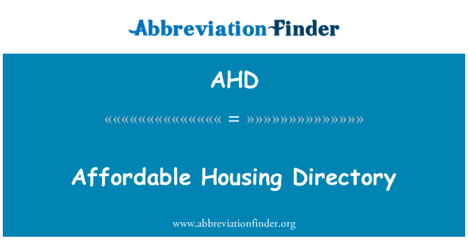 AHD: Affordable Housing Directory