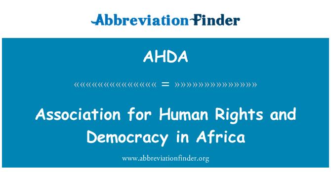 AHDA: Asociación para los derechos humanos y la democracia en África