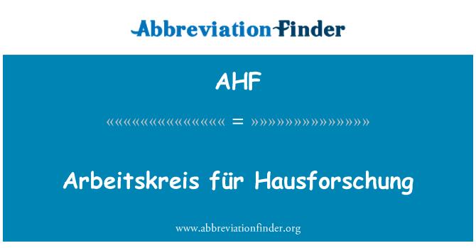 AHF: Arbeitskreis für Hausforschung