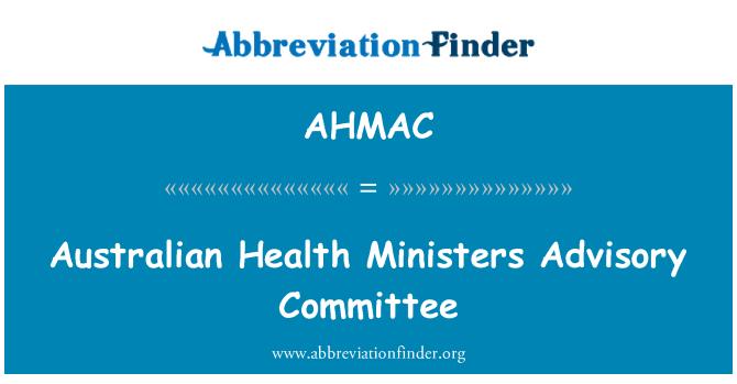 AHMAC: Comité Asesor de Ministros de salud australiano