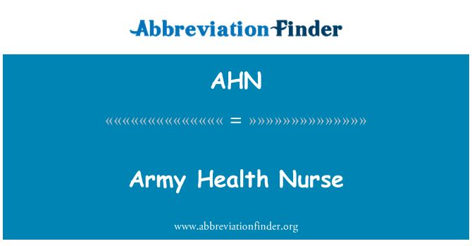AHN: Army Health Nurse