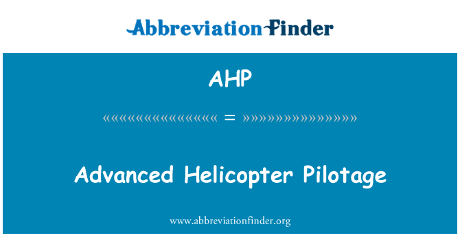 AHP: Täpsemalt helikopteri lootsimine