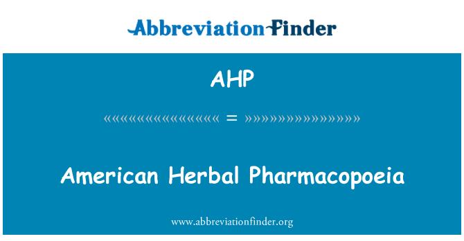 AHP: Bitkisel Amerikan Farmakopesi