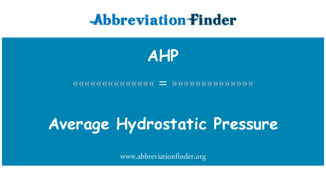 AHP: Ortalama hidrostatik basınç