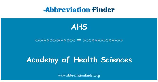 AHS: Academy of Health Sciences