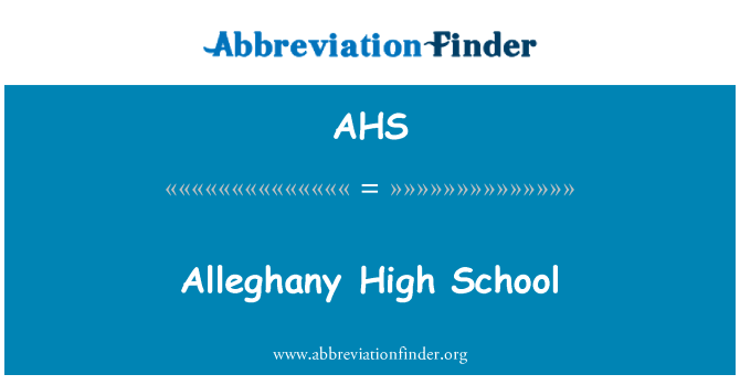 AHS: Alleghany High School