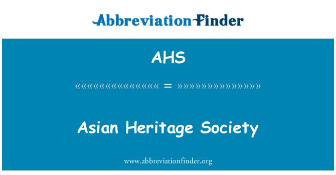 AHS: Asian Heritage Society
