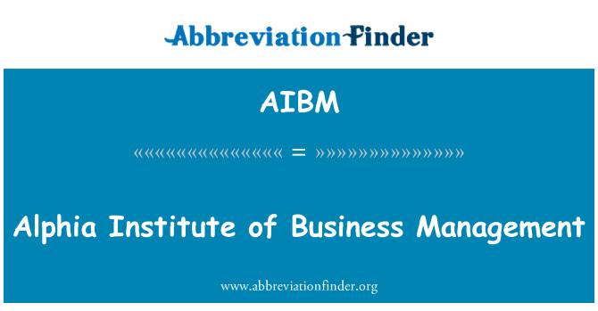 AIBM: الفیا انسٹی ٹیوٹ آف بزنس منیجمنٹ