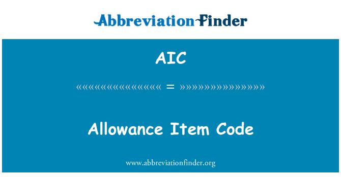 AIC: Allowance Item Code