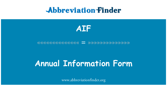 AIF: Annual Information Form