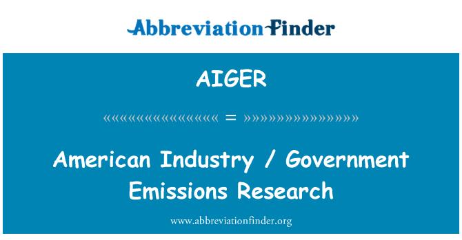 AIGER: Industria americana / investigación de emisiones del gobierno