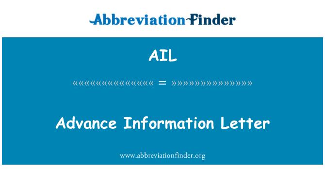 AIL: Advance Information Letter