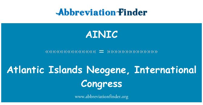 AINIC: Atlantic Islands Neogene, International Congress