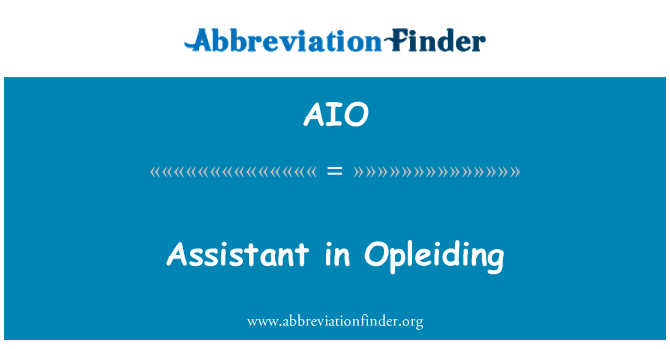 AIO: Assistant in Opleiding