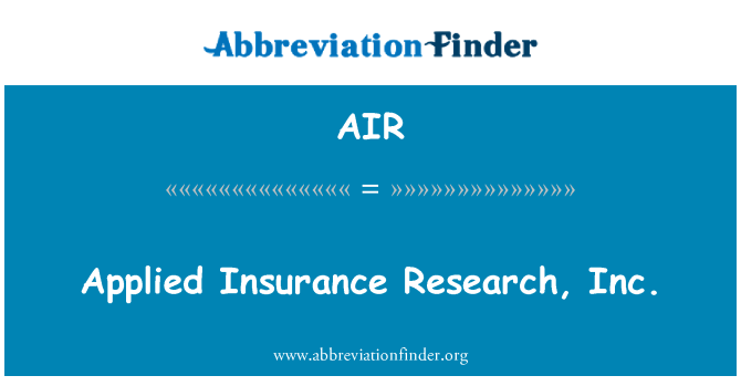 AIR: Applied Insurance Research, Inc.