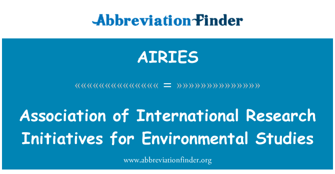 AIRIES: Association of International Research Initiatives for Environmental Studies