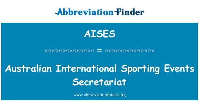 AISES: Internacional australiano Secretaría de eventos deportivos