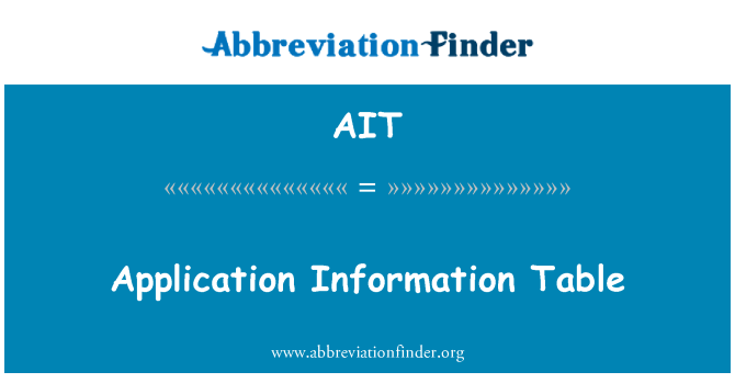AIT: Application Information Table