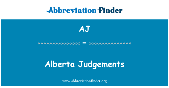 AJ: Alberta Judgements