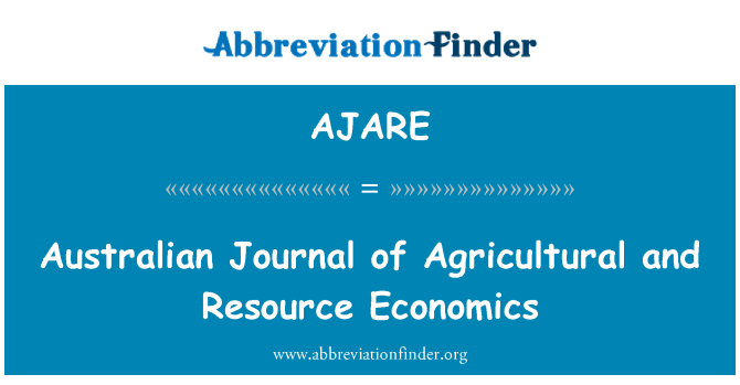 AJARE: Australian Journal of Agricultural and Resource Economics