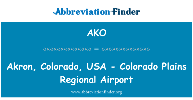 AKO: Akron, Colorado, USA - Colorado Plains Regional Airport