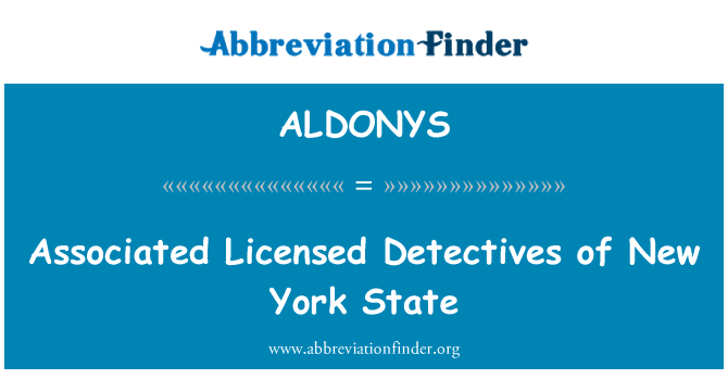 ALDONYS: Associated Licensed Detectives of New York State
