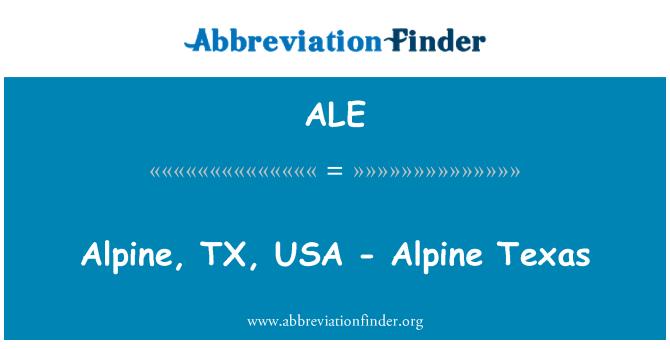 ALE: Alpine, TX, USA - Alpine Texas