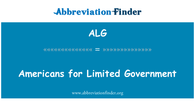 ALG: Americans for Limited Government