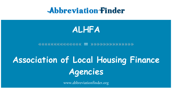 ALHFA: Association of Local Housing Finance Agencies