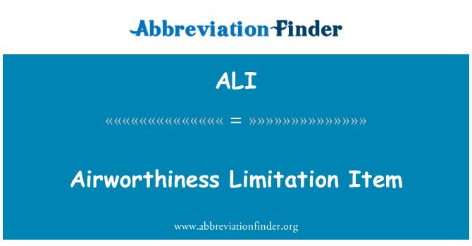 ALI: Airworthiness Limitation Item