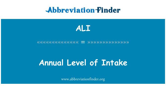ALI: Annual Level of Intake