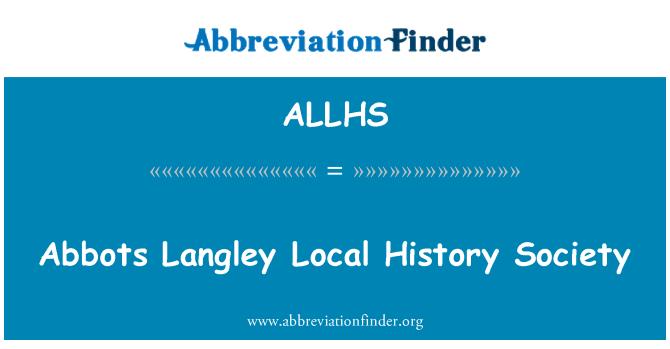 ALLHS: 住持兰里当地历史社会