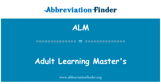 ALM: Adult Learning Master's