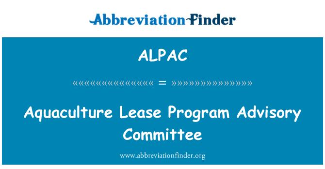 ALPAC: Comité Consultivo de acuicultura arrendamiento programa
