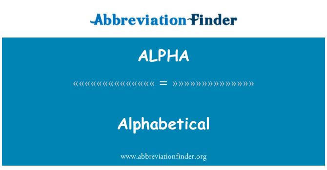 ALPHA: Por orden alfabético