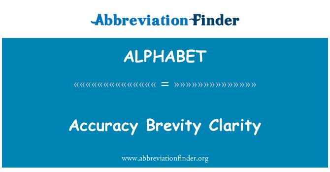 ALPHABET: Claridad precisión brevedad