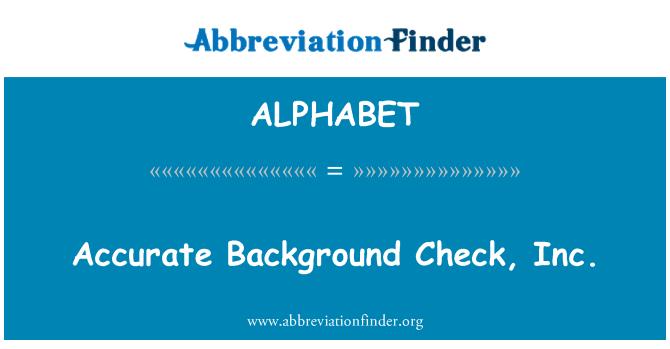 ALPHABET: Precisa Background Check, Inc.